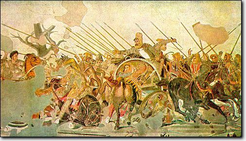 Pompeii'de Faun Evi'nde bulunan M.Ö. 80 civarlarına ait mozaik. Mozaik şu an İtalya'da, Naples'de Ulusal Arkeoloji Müzesindedir. Detay için tıklayın